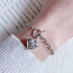 *Sterling Silver Heart Toggle Link Chain Bracelet